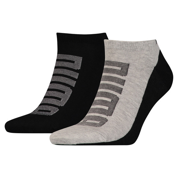 Men's Logo Trainer Socks 2 Pack, black / grey melange, large