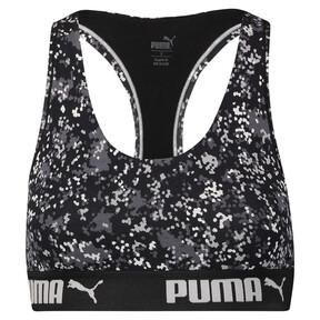 Thumbnail 3 of Speckle Camo Racerback Women's Bra Top, black / white, medium