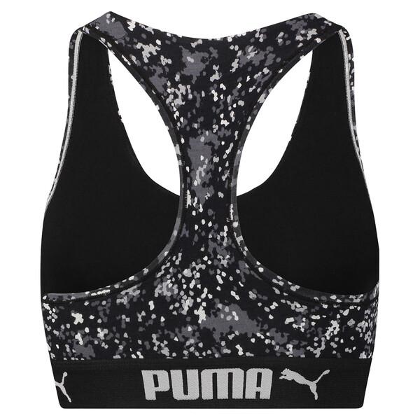 Speckle Camo Racerback Women's Bra Top, black / white, large