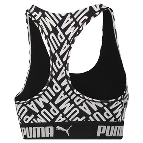Thumbnail 2 of Women's Logo Collage Print Racerback Bra Top, black / white, medium