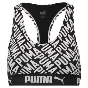 Thumbnail 3 of Women's Logo Collage Print Racerback Bra Top, black / white, medium