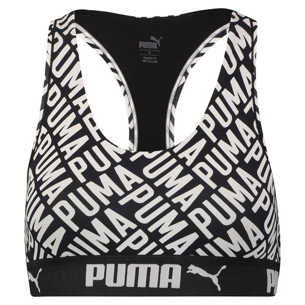 Damen Logo Collage Print Racerback BH-Top, black / white, large