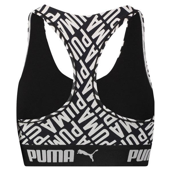 Women's Logo Collage Print Racerback Bra Top, black / white, large
