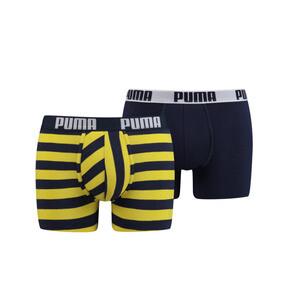 Thumbnail 1 of Optical Stripe Men's Boxer Shorts 2 Pack, navy / yellow, medium