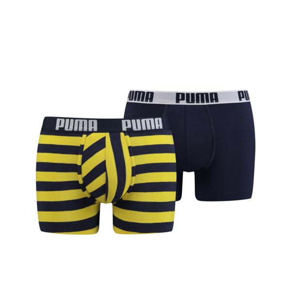 Optical Stripe Men's Boxer Shorts 2 Pack, navy / yellow, large