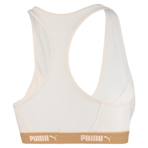 Mesh racerbacktop voor vrouwen, wit/goudkleurig, large