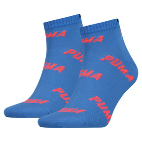 Thumbnail 1 of All-Over Logo Men's Quarter Socks 2 Pack, blue / red, medium