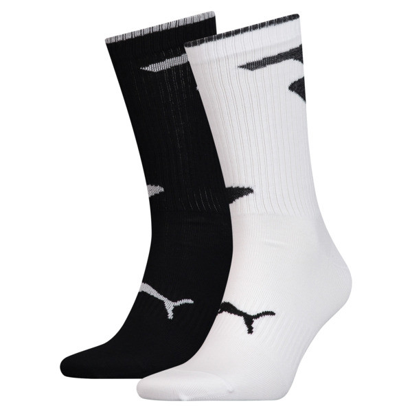 Men's Crew Socks 2 Pack, white / black, large