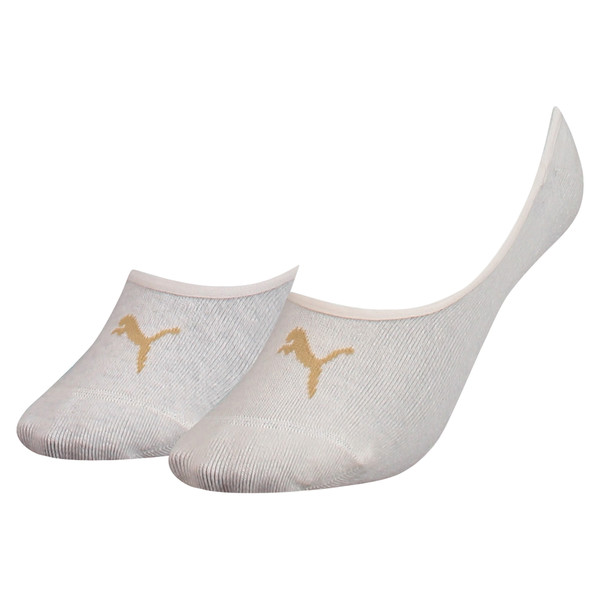 Women's Footie Socks 2 Pack, white melange / gold, large