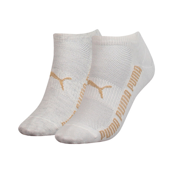 Lurex Women's Trainer Socks 2 Pack, white melange / gold, large