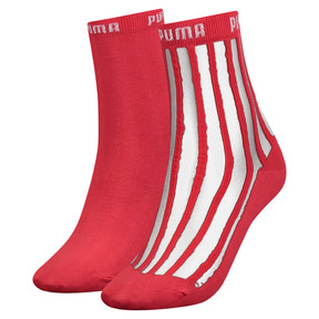 Thumbnail 1 of Transparent Stripe Women's Short Socks 2 Pack, pink / red, medium