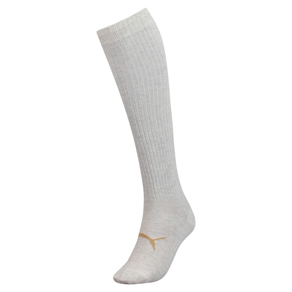 Lurex Women's Knee-High Socks, white melange / gold, large