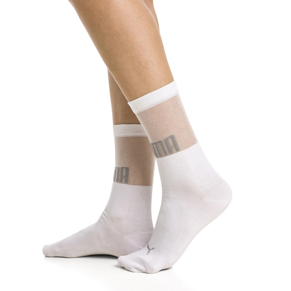 PUMA x SG Transparent Top Crew Socks (1 Pair), white, large