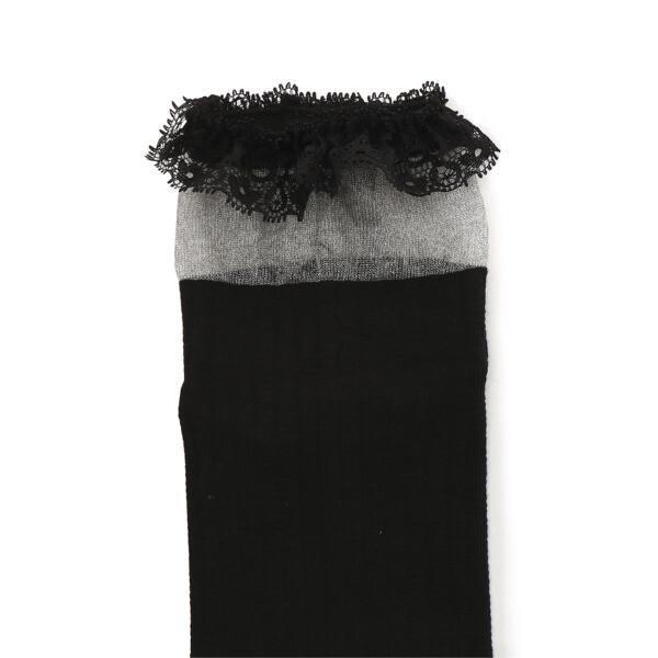 SG ラッフルショートソックス 1P, black, large-JPN