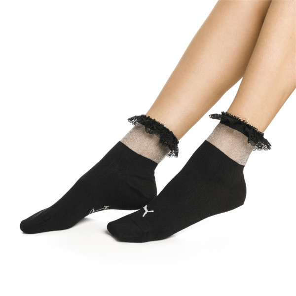 PUMA x SG Ruffle Short Crew Socks, black, large
