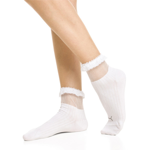 PUMA x SG Ruffle Short Crew Socks, white, large