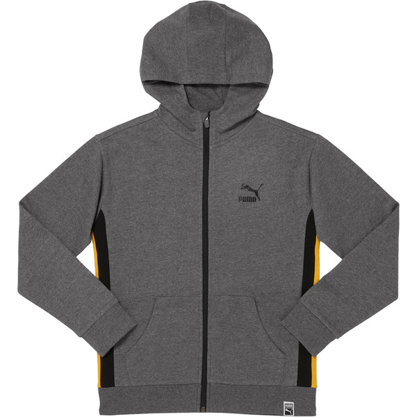 Boys Color Block Hoodie JNR, CHARCOAL HEATHER, large