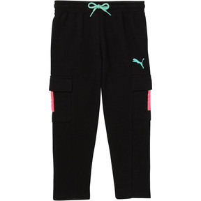 Thumbnail 1 of Little Kids' Cargo Pants, PUMA BLACK, medium