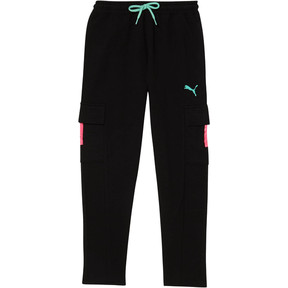 Thumbnail 1 of Girl's Fleece Cargo Tapered Pants JNR, 01, medium
