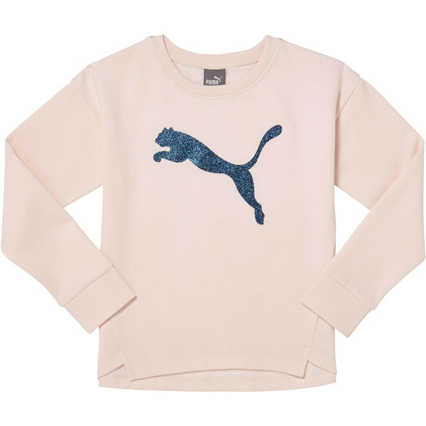 Girl's Fleece Crewneck Pullover PS, PEARL, large