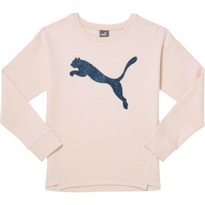 Thumbnail 1 of Girl's Fleece Crewneck Pullover JR, PEARL, medium