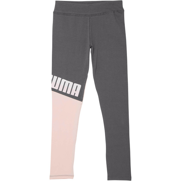 Girl's Color Block Leggings JR, PEARL, large