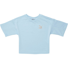 Thumbnail 1 of Girl's French Terry Sport Top, CERULEAN, medium