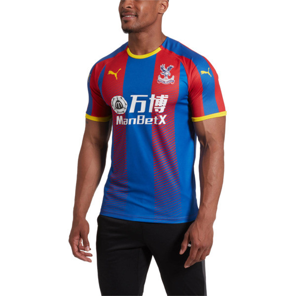 Crystal Palace Men's Home Replica Jersey, Crystal Palace Blue- Red Str, large