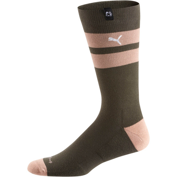 PUMA x Emory Jones Men's Crew Socks (1 Pair), Forest-Coral-White, large