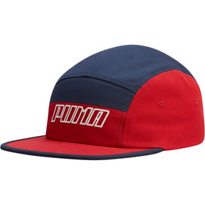 Thumbnail 1 of Streak 5 Panel Adjustable Cap, Navy/Red, medium