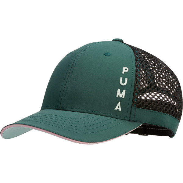 Upward Performance Women's Adjustable Cap, Dark Green, large