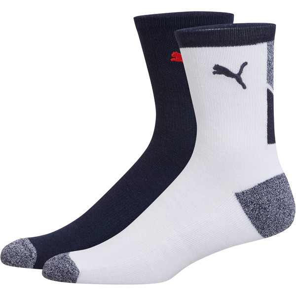 1/2 Terry Men's Low Crew Socks [2 Pack], WHITE / NAVY, large