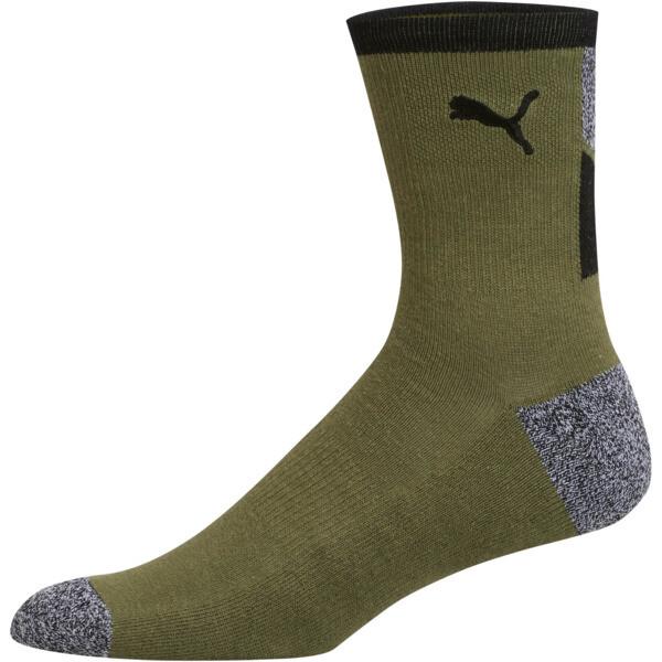 1/2 Terry Men's Low Crew Socks [2 Pack], BLACK / WHITE, large