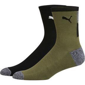 Thumbnail 1 of 1/2 Terry Men's Low Crew Socks [2 Pack], BLACK / WHITE, medium