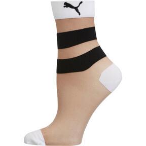 Thumbnail 1 of Women's Stripe Low Crew Socks [1 Pair], WHITE / BLACK, medium