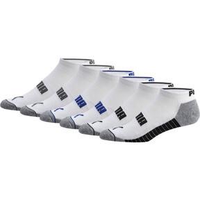 Thumbnail 1 of Wordmark 1/2 Terry Men's Low Cut Socks [6 Pack], WHITE / BLACK, medium