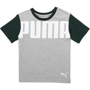 Thumbnail 1 of Little Kids' Archive Logo AOP Tee, PEACOAT, medium