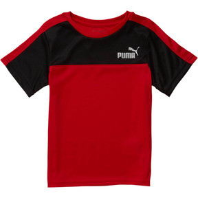 Thumbnail 1 of Little Kids' Poly Interlock Pieced Tee, HIGH RISK RED, medium