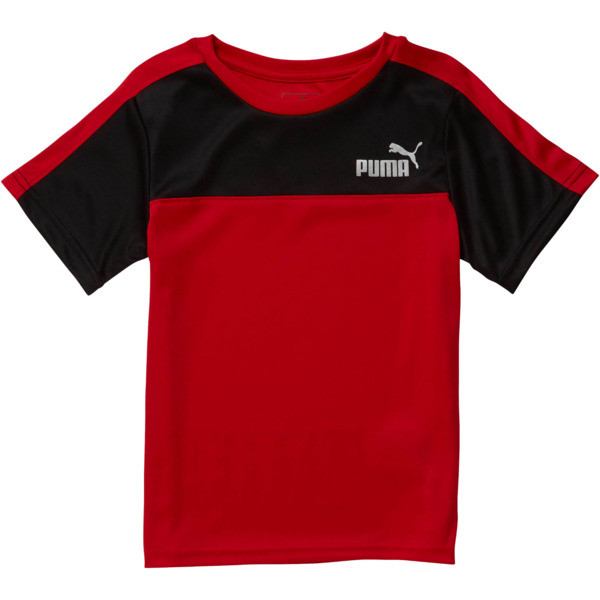Boy's Poly Interlock Pieced Tee PS, HIGH RISK RED, large