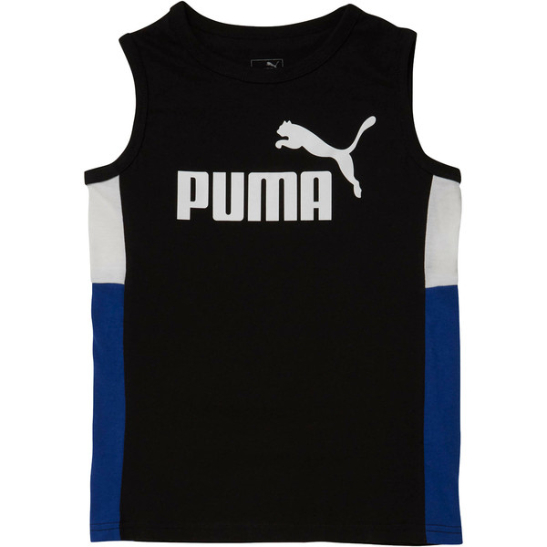 Boys' Color Block Muscle Tank JR, PUMA BLACK, large
