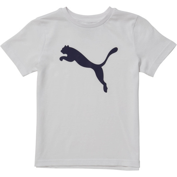 Little Kids' Cotton Jersey Heather Tee, PUMA WHITE, large