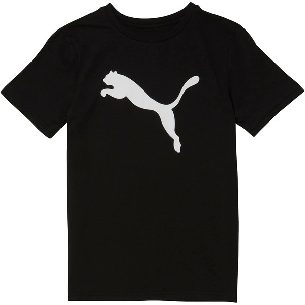Boy's Cotton Jersey Heather Tee JR, PUMA BLACK, large