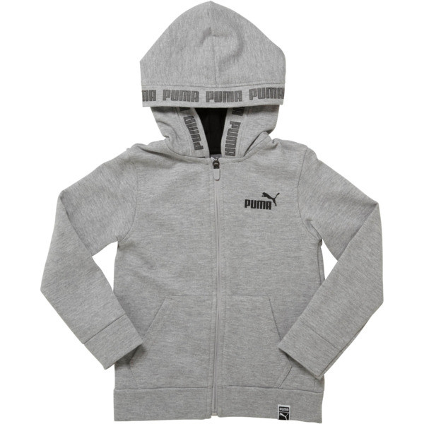 Boy's Fleece Full Zip Hoodie PS, LIGHT HEATHER GREY, large