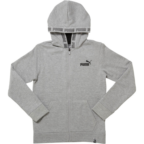 Boys' Fleece Full Zip Hoodie JR, LIGHT HEATHER GREY, large