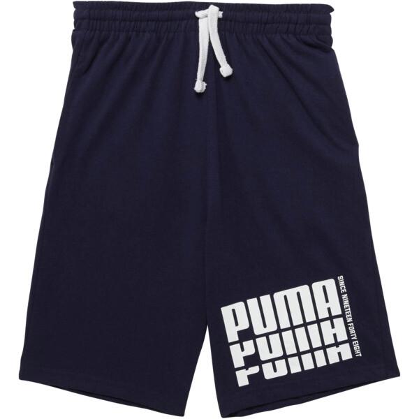 Boys' Cotton Jersey Shorts JR, PEACOAT, large