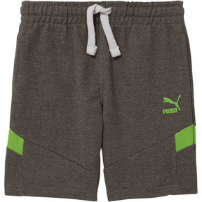 Thumbnail 1 of Little Kids' Cotton French Terry Pieced Shorts, CHARCOAL HEATHER, medium