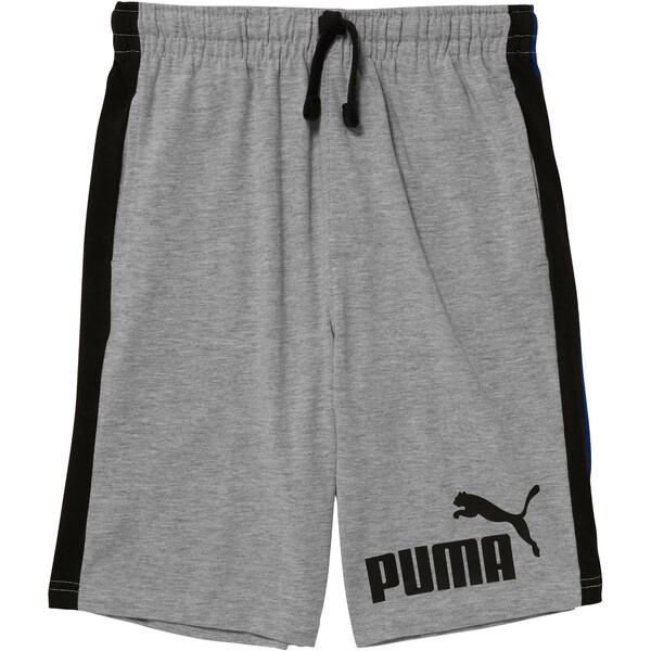 Boys' Cotton Heavy Jersey Pieced Shorts JR, LIGHT HEATHER GREY, large