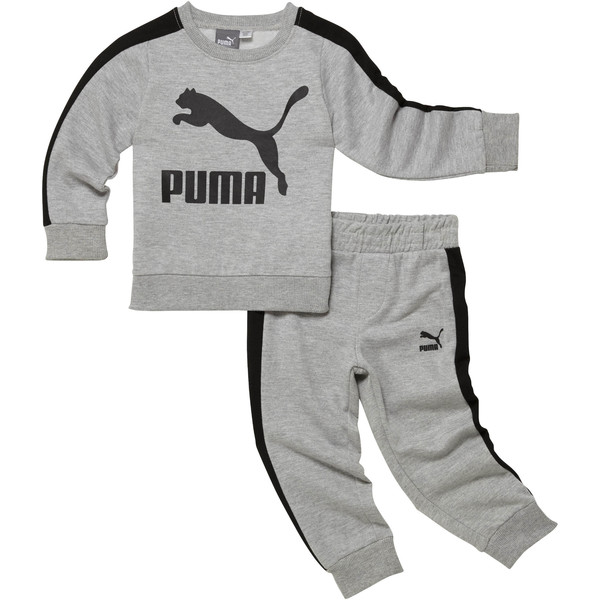 Infant + Toddler Graphic Cotton Fleece Set, LIGHT HEATHER GREY, large