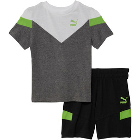 Thumbnail 1 of Toddler Cotton Tee and Short Set, CHARCOAL HEATHER, medium