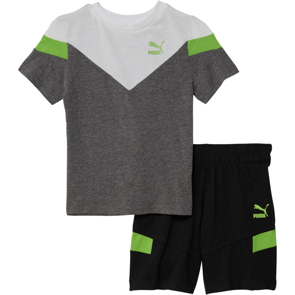 Toddler Cotton Tee and Short Set, CHARCOAL HEATHER, large